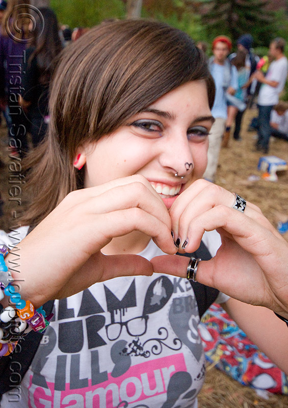 kandi girl making heart sign, finger heart, hands, jess, party, people, raver, woman