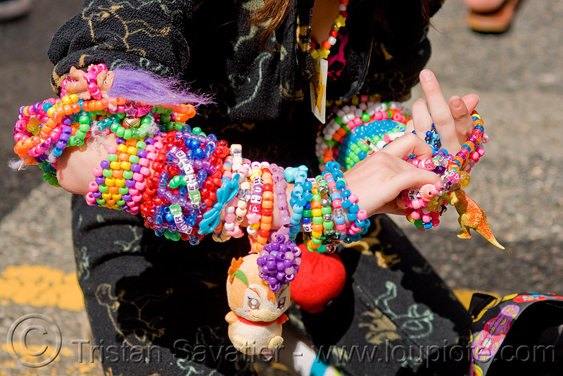 kandi kid - bronwynn (san francisco), beads, bracelets, clothing, cuffs, fashion, festival, how weird festival, kandi cuffs, kandi raver, people, plur, woman, wrists