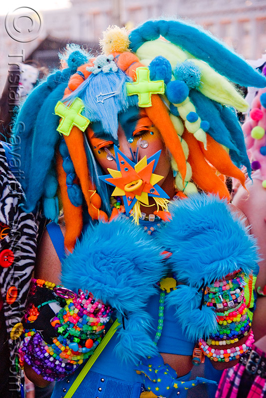 kandi kid in blue fuzzy outfit - digi monstarr, beads, blue, bracelets, costume, cuffs, cyber fashion, cyber monster, digi monstarr, dreadfalls, festival, furry, fuzzy, kandi kid, kandi raver, love fest, lovevolution, man, neon color, outfit, plur