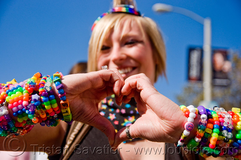 kandi kid making a heart, beads, bracelets, cuffs, festival, heart, jennifer, kandi kid, kandi raver, love fest, lovevolution, plur, woman