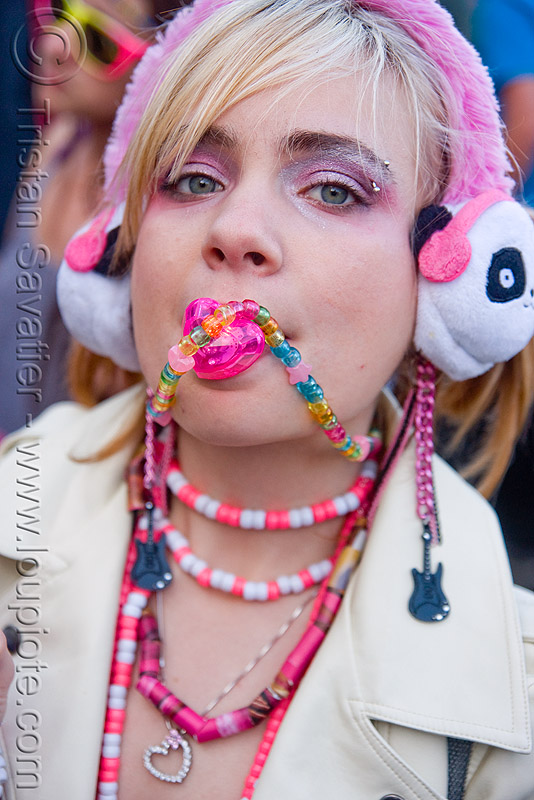 kandi kid with binky - pacifier - kandi raver (san francisco), beads, binky, clothing, fashion, kandi kid, kandi raver, lizzy, lovevolution, necklaces, pacifier, pink, woman