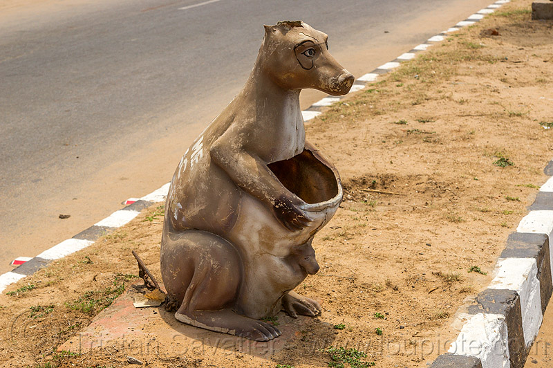 kangaroo trash bin (india), garbage bin, garbage can, kangaroo, median, road, trash bin, trash can