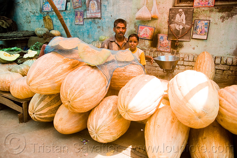 kashi phal - sita phal - indian pumpkins, delhi, farmers market, girl, indian pumpkins, kashiphal, man, merchant, produce, sitaphal, stall, street market, vegetables, vendor