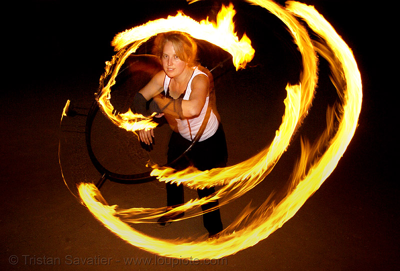 kathy spinning fire hula hoop (san francisco), fire dancer, fire dancing, fire hula hoop, fire performer, fire spinning, flames, hula hooping, kathy, long exposure, night, spinning fire
