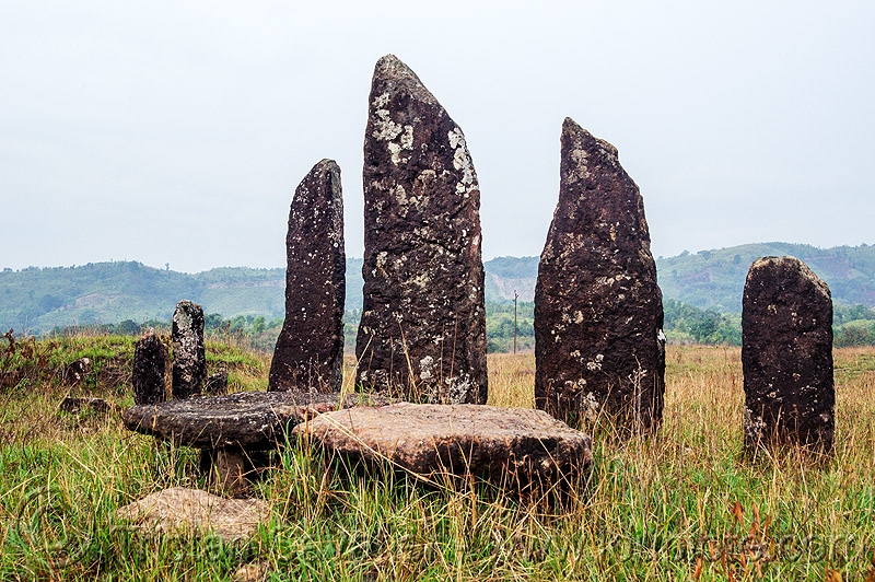 khasi menhirs and dolmens - table-stones - memorial stones (india), archaeology, cenotaph, east khasi hills, megaliths, meghalaya, monoliths, standing stones