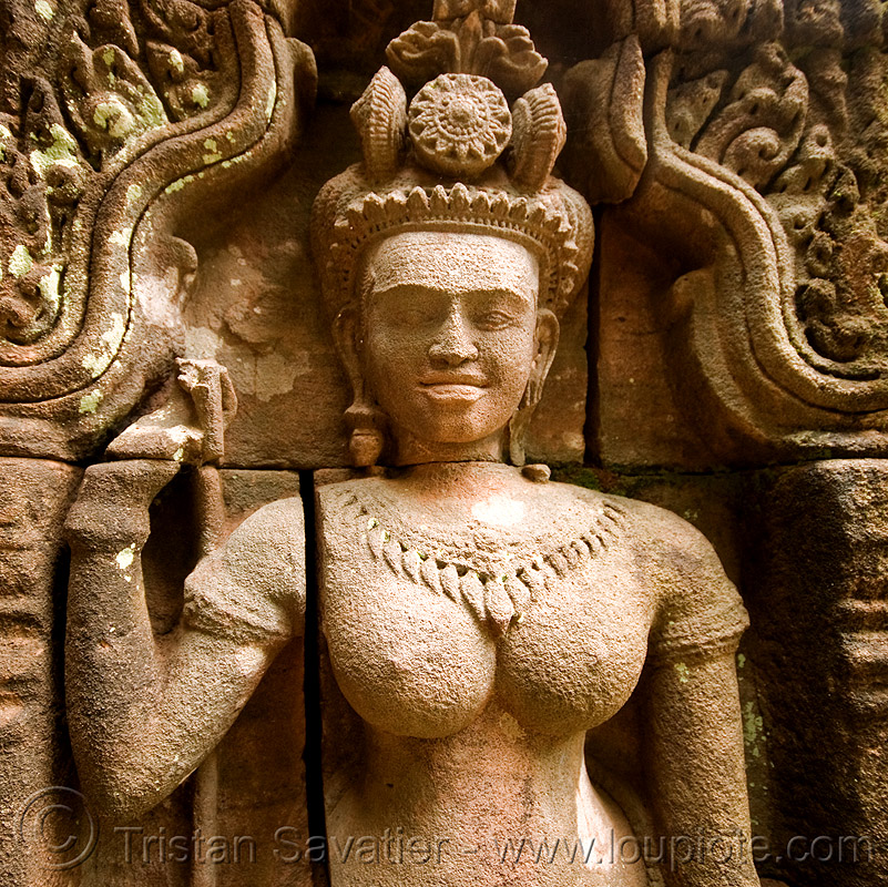khmer goddess - stone statue - wat phu champasak (laos), asian woman, breasts, carving, goddess, khmer temple, main shrine, sculpture, statue, stone, wat phu champasak