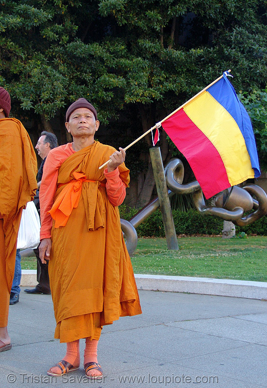 khmer-krom buddhist monks in street demonstration (civic center, san francisco), bhagwa, buddhist monks, demonstration, khmer kampuchea-krom federation, khmer kampuchea-krom flag, khmer krom, khmers, kho-me, kkf, monk, orange, protest, rally, saffron color, vietnam
