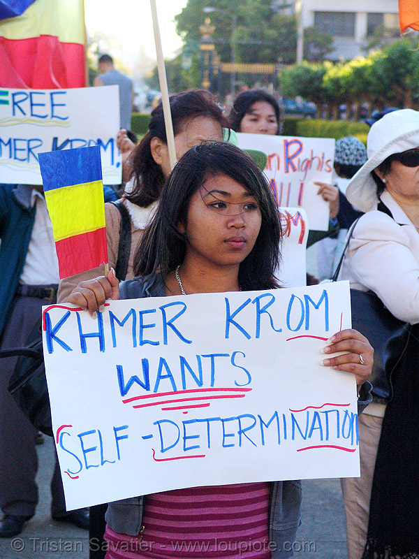 khmer-krom girl in street demonstration (civic center, san francisco), asian woman, demonstration, khmer girl, khmer kampuchea-krom federation, khmer kampuchea-krom flag, khmer krom, khmers, kho-me, kkf, protest, rally