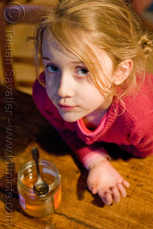 kid - honey pot, apolline, blonde, breakfast, child, honey pot, kid, little girl