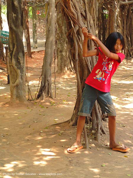 kid playing with banyan tree (near phimai) - thailand, child, kid, phimai, tree, ประเทศไทย