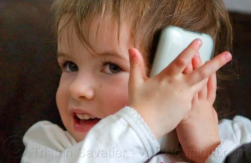 kid with iPhone, cellphone, child, iphone, kid, listening, little girl, playing