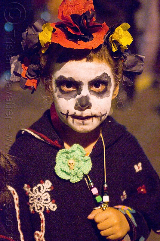 kid with skull makeup - dia de los muertos - halloween (san francisco), child, day of the dead, face painting, facepaint, girl, hat, little girl, night, people, woman