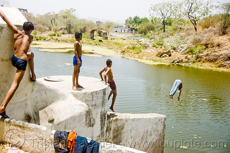 kids diving in lake - udaipur (india), bathing, child, dive, people, water