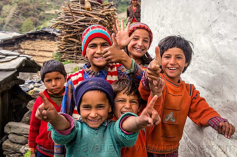 kids fooling around in himalayan village (india), boys, children, girl, janki chatti, knit cap, people