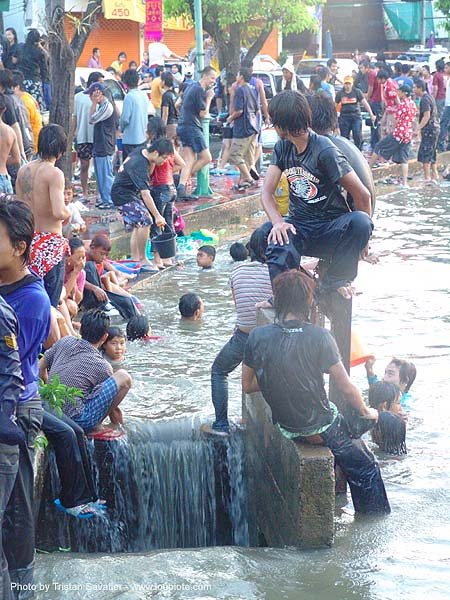 kids in the chiang mai moat during songkran festival - เชียงใหม่ - สงกรานต์ (thai new year), children, crowd, people, soaked, swimming, wading, water, water festival, wet, ประเทศไทย, สงกรานต์, เชียงใหม่