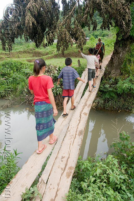 kids on small footbridge (laos), bridge, child, crossing, people, river, stream, viang xai, water