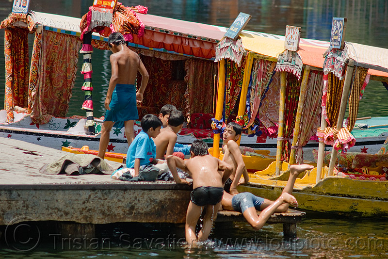 kids playing in lake - srinagar - kashmir, bath, bathing, children, kashmir, kid, lake, pier, small boats, srinagar, swimming, taxi-boats, wading, water, سِرېنَگَر, شرینگر, श्रीनगर