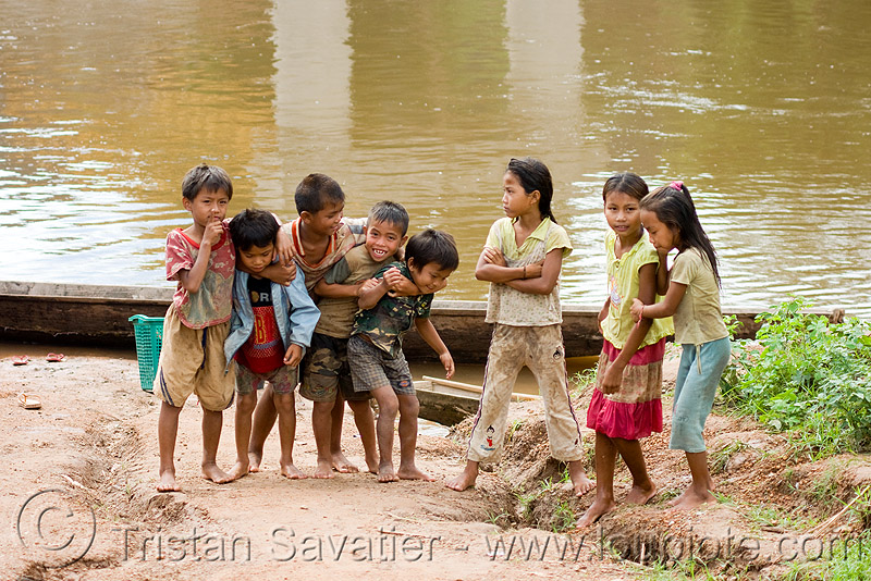kids playing near river (laos), boys, children playing, girls, kids playing, kong lor, little girl, river, water