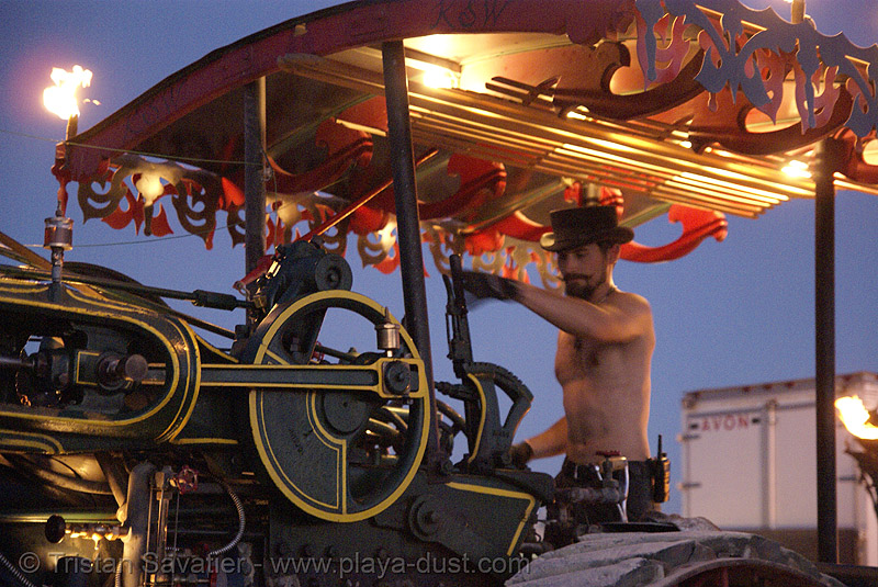 kinetic steam works' case traction engine hortense - closeup - burning man 2007, art car, burning man, case steam engine, kinetic steam works, ksw, steam tractor, steampunk