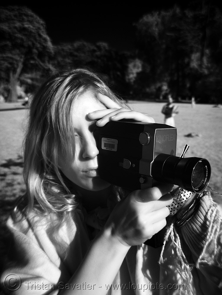 kinoflex super-8 film camera - daylight infrared photo (golden gate park, san francisco), camera, daylight infrared, golden gate park, kinoflex, movie, near infrared, nicole, super-8, woman