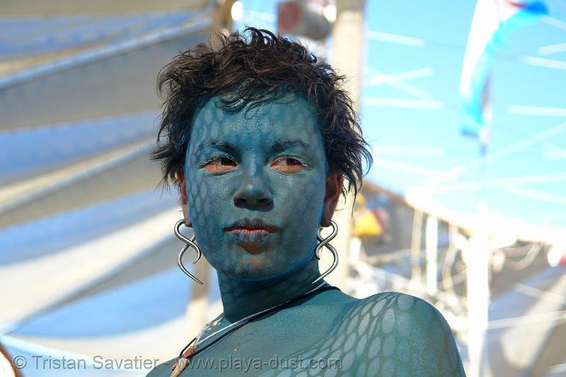 kirstin - with body paint - stencil airbrush - portrait - burning-man 2006, airbrush stencil, blue, body art, body paint, body painting, burning man, center camp, kirstin