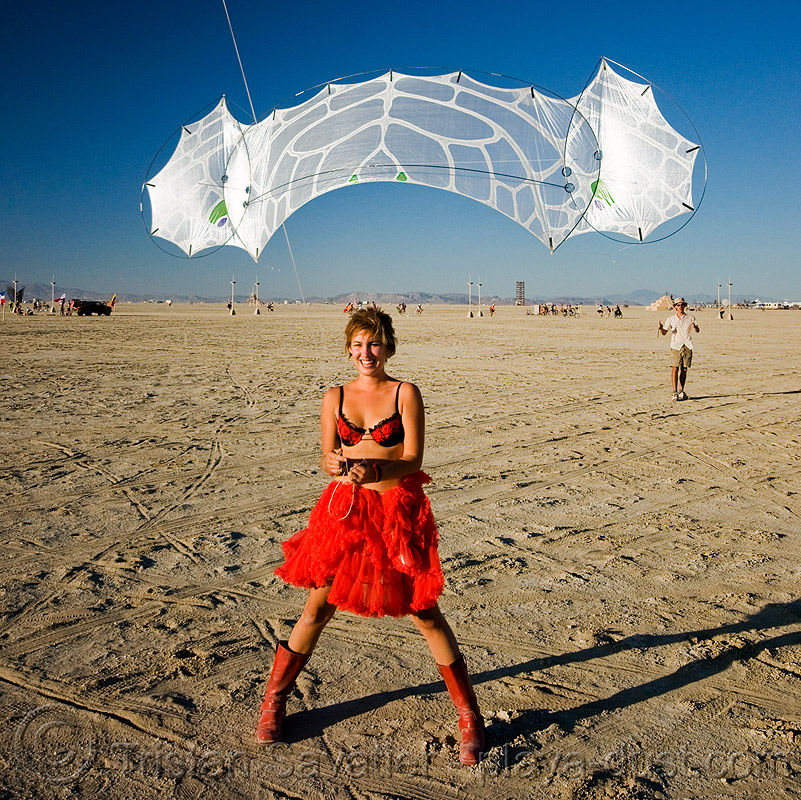 kite - rachel - department of tethered aviation (DOTA) - burning man 2008, articulated kite, dress, modern kite, people, playa, red, red dress, windfire design
