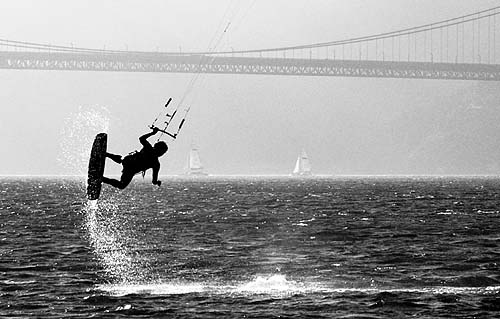 kiteboarder (san francisco), bridge, crissy, crissy field, golden gate, golden gate bridge, jump, kite surfer, kiteboard, kiter, suspension bridge