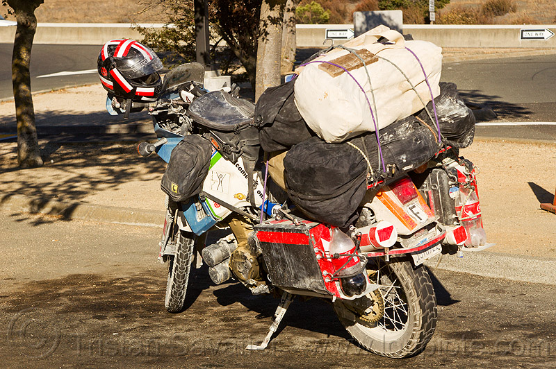 KLR 650 motorbike with heavy load, cargo, dual-sport, duffle bags, freight, kawasaki, klr 650, luggage rack, motorbike touring, motorcycle touring, pannier cases, panniers, tank bags, tool tubes
