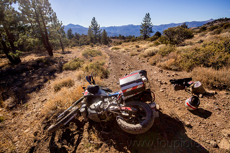 KLR 650 motorcycle crash on trail, accident, california, crash, dirt road, dropped, dual-sport, eastern sierra, helmet, kawasaki, klr 650, luggage, lying down, mishap, motorbike touring, motorcycle touring, panniers, rack, tank bags