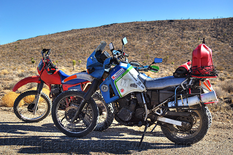 KLR 650 on desert trail, can, death valley, dirt road, dual-sport, fuel, gas, gasoline, honda, jerrycan, kawasaki, motorbike touring, motorbikes, motorcycle touring, motorcycles, petrol, plastic can, unpaved, xr 350