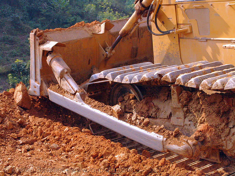 komatsu D50P bulldozer in action - vietnam, at work, blade, cao bang, cao bằng, dozer, earth, groundwork, heavy equipment, hydraulic, komatsu bulldozer, komatsu d50p, machinery, plow, road construction, roadworks, working