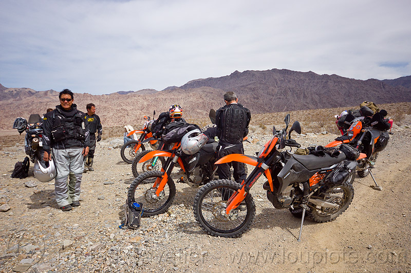 KTM motorcycles in the desert, adv rider, adventure rider, death valley, dual-sport, ktm, motorbike touring, motorcycle touring, noobs rally, saline valley