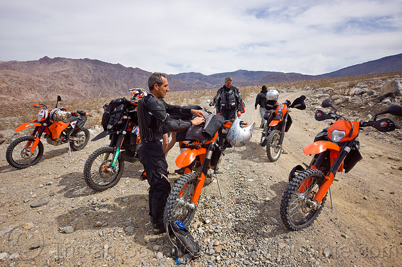 KTM motorcycles in saline valley, adv rider, adventure rider, death valley, dual-sport, motorbike, motorbike touring, motorcycle, motorcycle touring, noobs rally, people