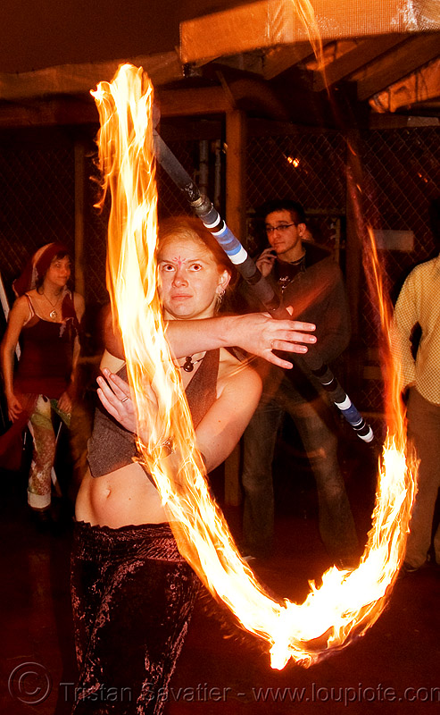 kyra spinning fire staff - jelly's (san francisco), fire dancer, fire dancing, fire performer, fire spinning, flames, long exposure, night, people, woman