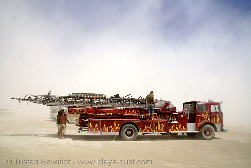 ladder firetruck, art car, burning man, fire, fire engine, fire truck, fire truck ladder, ladder fire truck, ladder truck, lorry