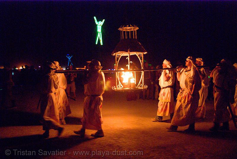 lamplighter's procession - lantern - fire conclave - burning man 2007, burning man, fire conclave, flames, lamplighters, lantern, night of the burn