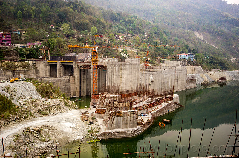 lanco hydro power project - dam construction on teesta river - sikkim (india), concrete, construction, crane, dam, formwork, hydro-electric, india, sikkim, teesta river, tista, valley