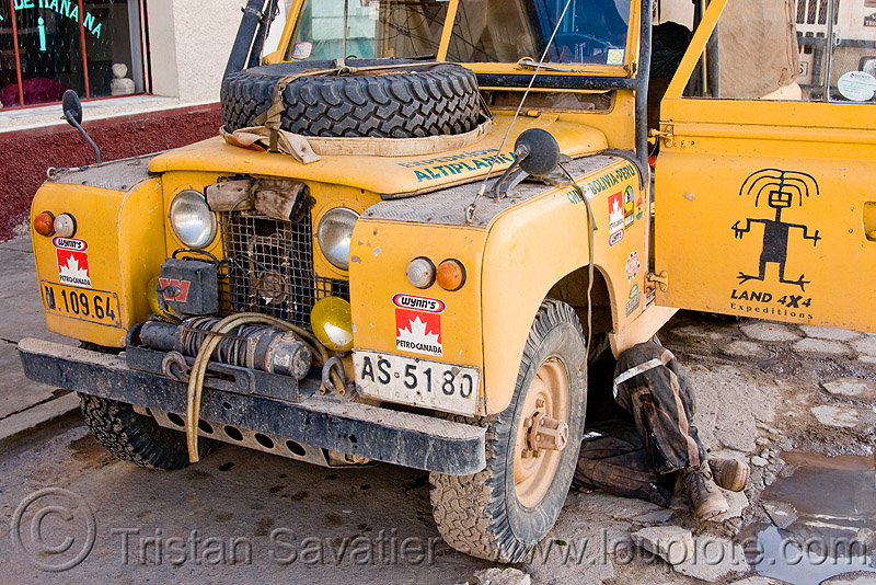 land rover series II, 4wd, 4x4, all-terrain, car, expedition, front, legs, man, mechanic, people, pto, pto winch, under, uyuni, yellow