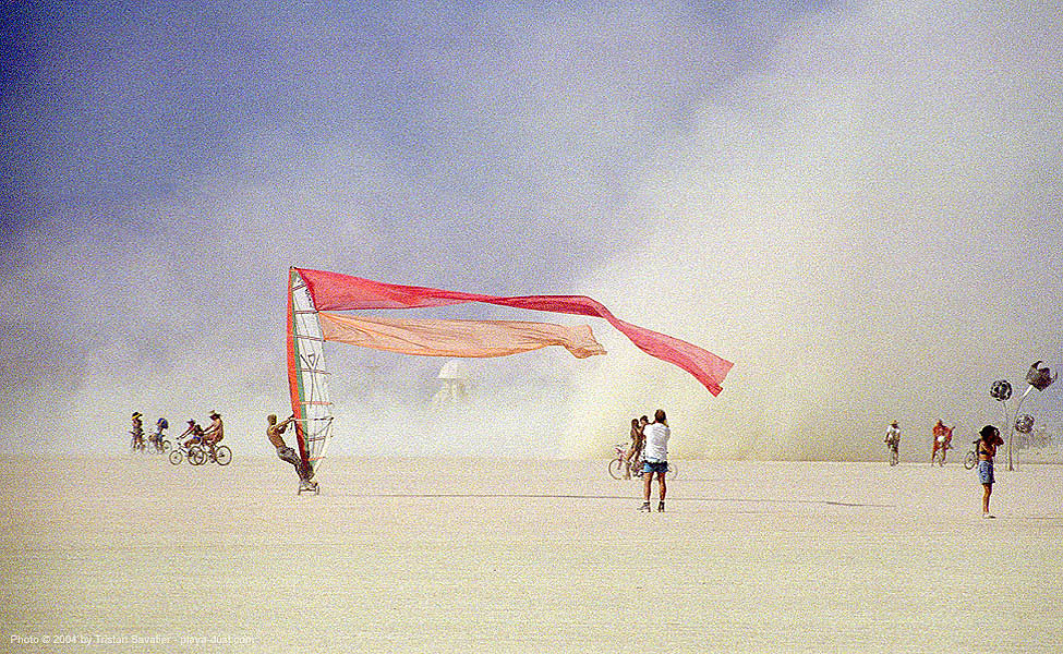 land sailing, burning man, dust storm, landsailing, streamer flags, streamers, street sailing, windsurfing