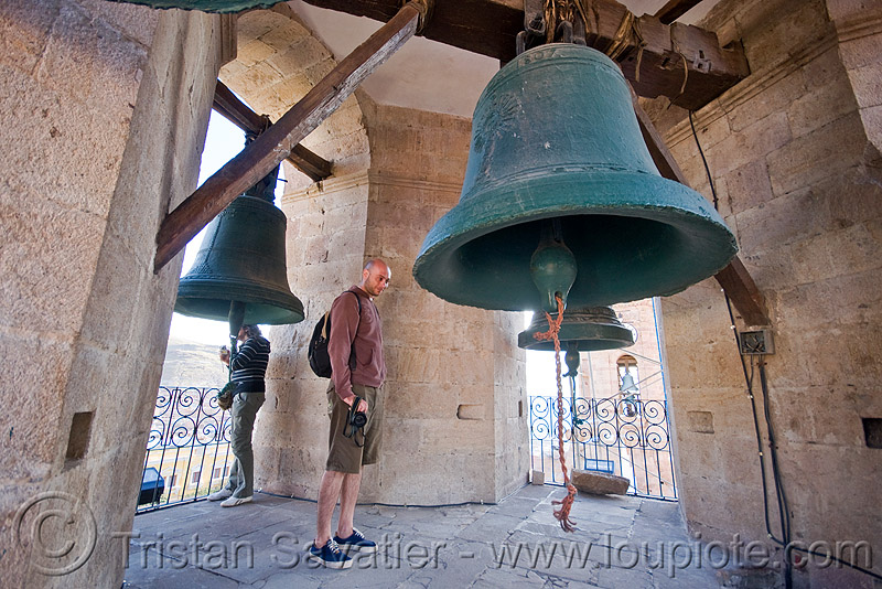 large bells, bells, belltower, brass, campanil, catedral de potosí, cathedral, church tower, emiliano, graciela, man, potosí