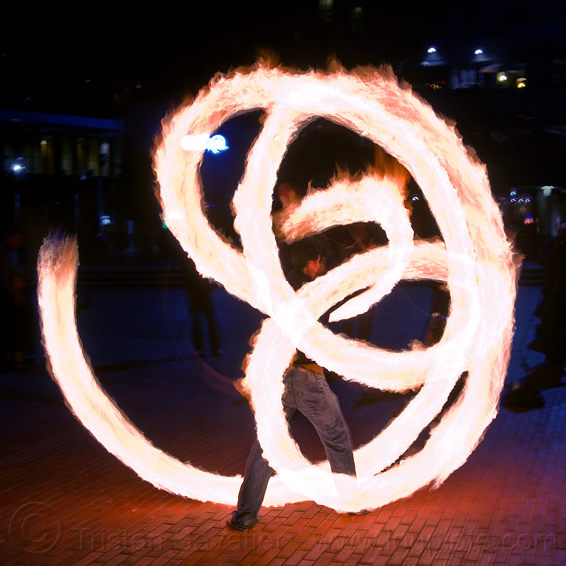 large fire poi, fire dancer, fire dancing, fire performer, fire poi, fire spinning, flames, long exposure, man, night, spinning fire