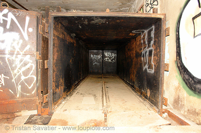 large steel box in abandoned factory, abandoned factory, derelict, iful, industrial, tags, tie's warehouse, trespassing