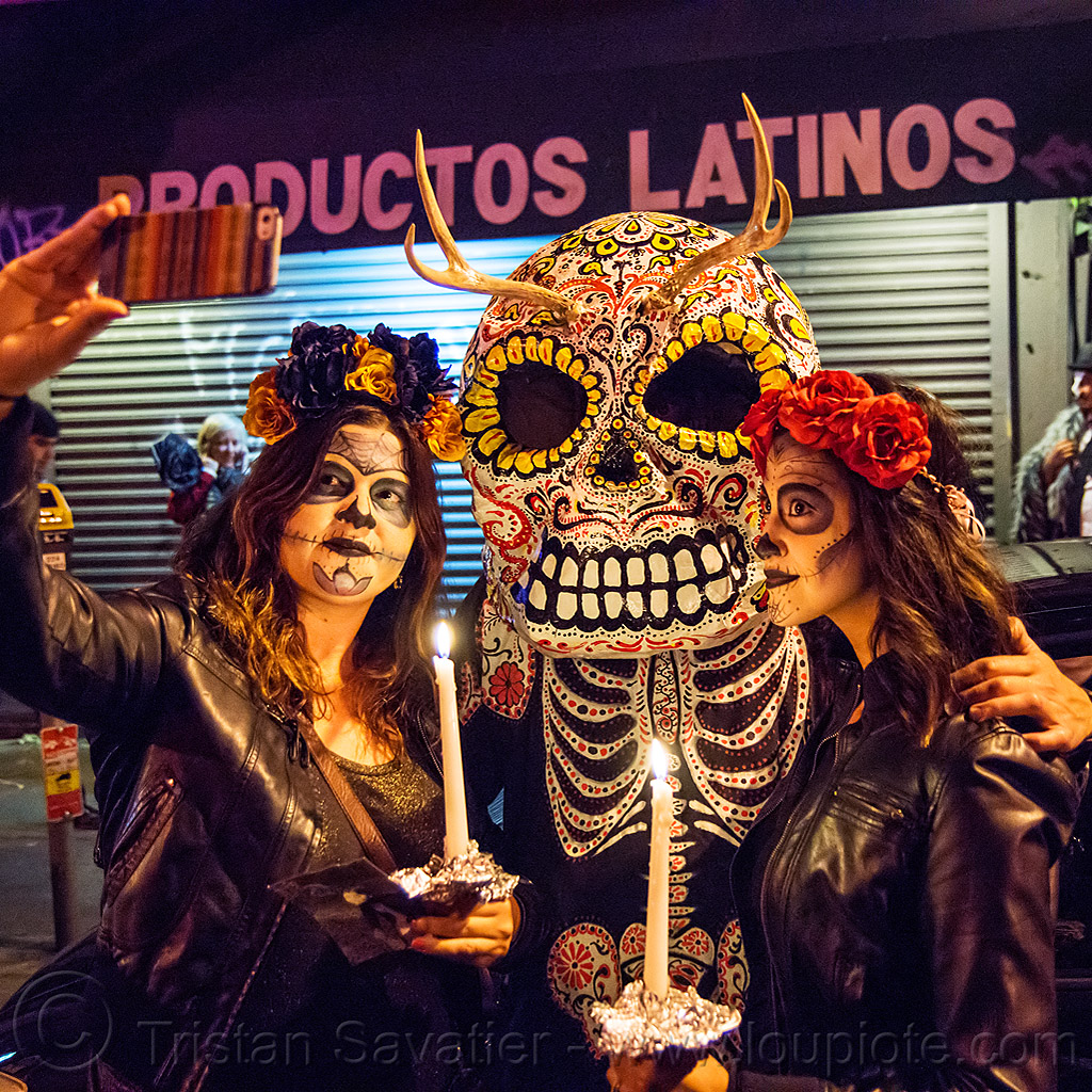 large sugar skull mask with antlers - dia de los muertos, antlers, candles, cell phone, day of the dead, dia de los muertos, face painting, facepaint, flower headdress, halloween, mobile phone, night, productos latinos, selfie, sugar skull makeup, sugar skull mask, women
