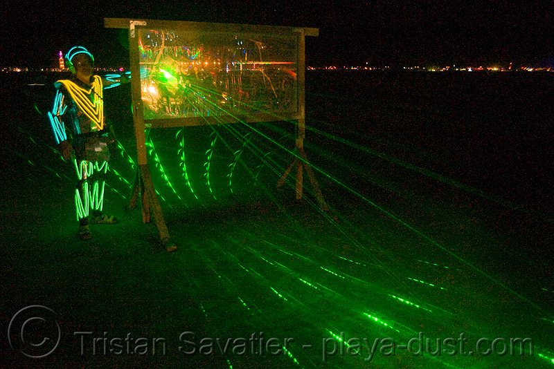 laser play - burning man 2008, beam, burning man, green laser, night, split