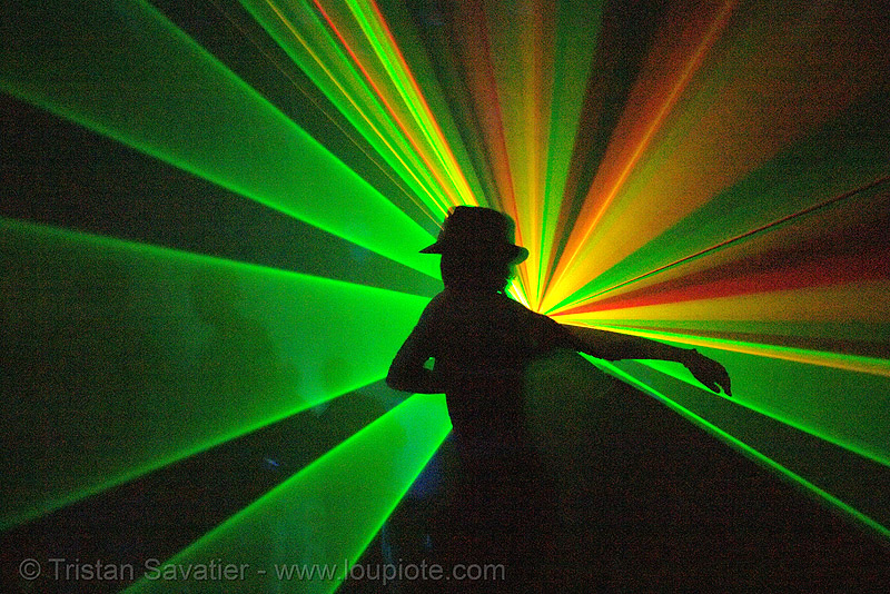 laser show in underground rave party (san francisco), backlight, fedora hat, gangster hat, laser lightshow, laser show, lasers, nightclub, rave lights, ravers, silhouettes