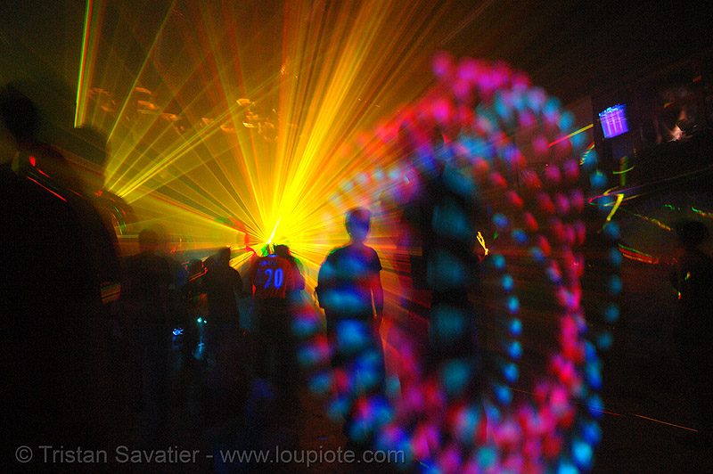 laser show - lights and shadows in warehouse underground rave party, backlight, glowing, laser lightshow, laser show, lasers, led lights, night, nightclub, nightlife, rave lights, rave party, ravers, shadows, silhouettes, underground party, warehouse party