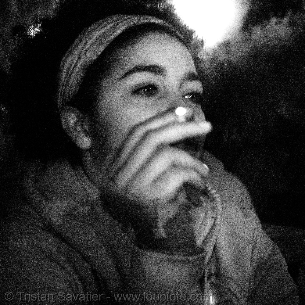 layla smoking cigarette - infrared photo, cigaret, layla, near infrared, night, smoking, woman