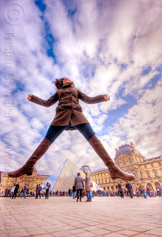 le louvre museum (paris), clouds, crowd, evrim bakışkan, jump shot, le louvre, museum, paris, pyramid, spread legs, tourists, woman