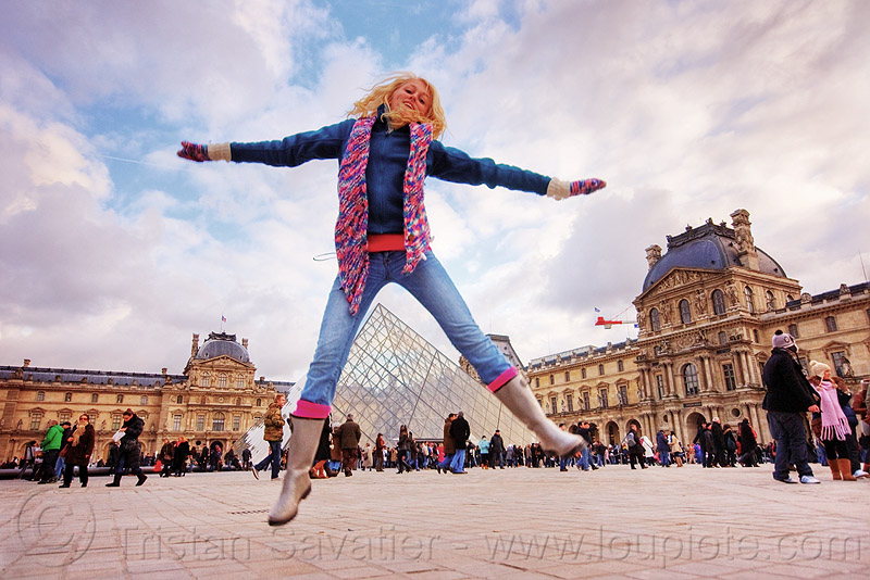 le louvre pyramid - paris, alexis, blonde, clouds, crowd, jump, jump shot, museum, people, scarf, spread legs, tourists, woman