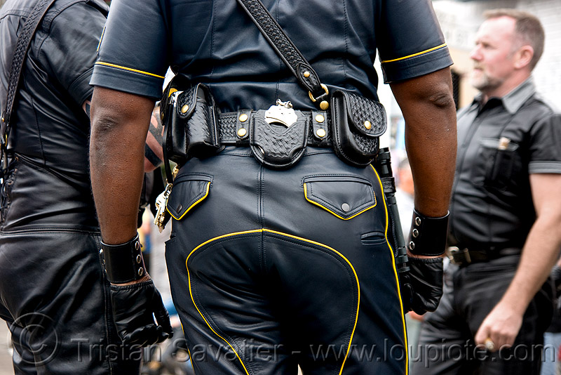 leather police uniforms, belt, black, costume, dore alley fair, leather jackets, leather pants, men, police uniforms, uniform